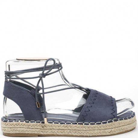 Ideal Shoes - Sandales plates effet daim Tricia Bleu