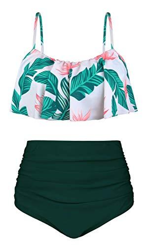 Missoul Große Größen Damen große Größen bis 60 | Badeanzug | Schwimmanzug mit Sonnenschutz | Einteiler Bademode | Seitliche Streifen, Vorderfutter & Unterbrustband -