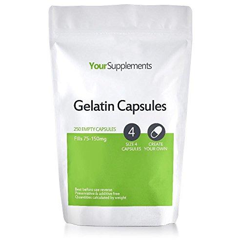 """Your Supplements - Cápsulas de gelatina, Vacías, Tamaño""""4"""", 250 piezas"""