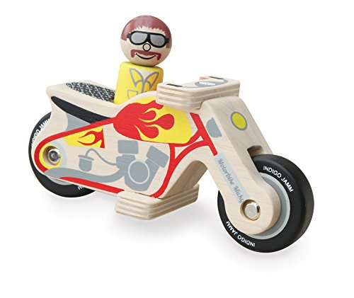 Indigo Jamm Motorrad Micky Holz Spielzeug–Wird Komplett mit Holz Biker
