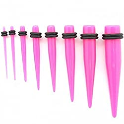 1 Set Taper Expander Stretcher for Flesh Tunnel Plug 14-000 Gauge Expander Piercing Pink with O-Rings