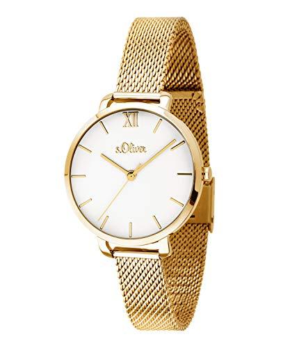 s.Oliver Damen-Armbanduhr Analog Quarz Edelstahl (Gold)