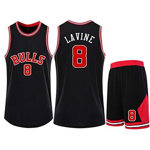 HSLIUQIUYI Zach LaVine NBA Chicago Bulls Nr. 8 Basketballtrikot Kurzarm Elastisch Weiche Atmungsaktive Basketball Sportswear Schwarzes Trikot,L