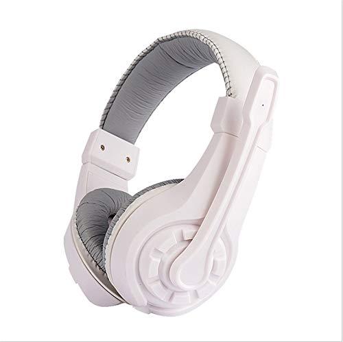 ALWAYZZ Kabelgebundene Kopfhörer mit Mikrofon, einstellbar über das Ohr Gaming-Headsets Kopfhörer Low Bass Stereo für PC mit Retail-Box,White Headset Retail-box