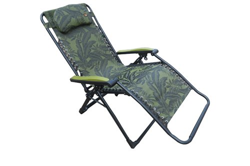"""""""Amaze"""" (EXTRA WIDE) Folding Zero Gravity Recliner push back easy relax portable Outdoor Indoor Sea beach swimming pool Garden Farm House Sun bed lounger Chair - Green Leaves"""