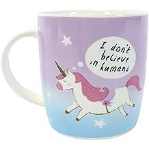 """Taza de unicornio Unicorn con diseño de """"no creo en los seres humanos taza"""