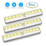 3er Lampe Schrankbeleuchtung Led Bewegungssensor USB, Gblife aufladbar Warmweißes Licht, Bewegungsmelder Licht mit 10 LED kabellos mit Magnetstreifen, ideal für Schrank Küche Gang Treppen Warmweiß