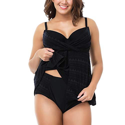GWELL Damen Spitze Tankini Set mit Slip Badeanzug Bademode Bikini Badekleider Bauchweg Swimwear Beachwear Große Größe Schwarz 4XL -