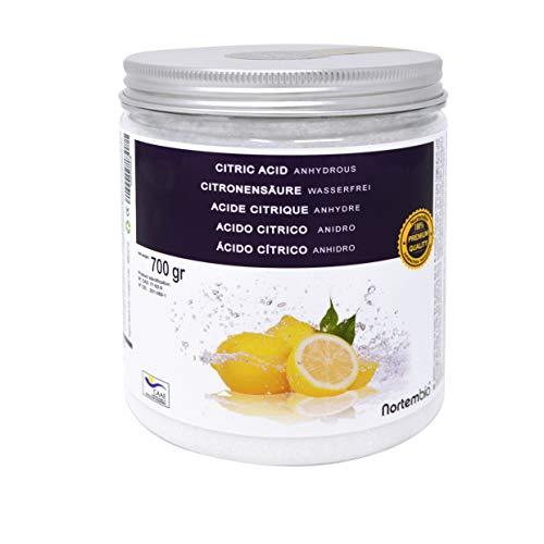 Nortembio acido citrico 700g. polvere anidro, 100% puro. per produzione biologica. sviluppato in italia.