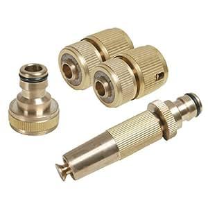 Silverline 793753 Set di 4 accessori in ottone per tubo di irrigazione