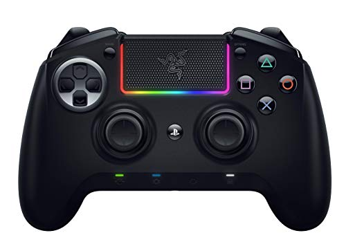 Razer Raiju Ultimate 2019 – Kabelloser und kabelgebundener PS4/PC Gaming-Controller mit Mecha-Tactile Action-Buttons, austauschbaren Komponenten, Schnell-Bedienfeld und Chroma RGB-Beleuchtung, Schwarz