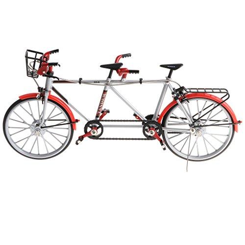 1:10 Juguete Infantil Modelo de Bicicleta Tándem de Imitación en Miniatura a Troquel Fundido a Presión Decoración Hogar