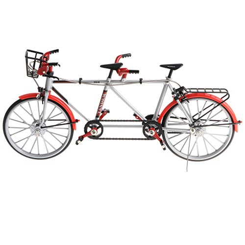 Baoblaze 1:10 Diecast Mini Metall Tandem Bike Fahrrad Rennrad Modell für Haus/Büro Ornament Deko - Rot