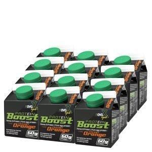 NOVOX Liquid Protein Boost-Aufkonzentriertes Eiklarprotein, Laktosefrei, Glutenfrei, Fettfrei, 60 Gramm Eiweiß, 10,4 Gramm BCAA (12 x 300 Ml Orange)
