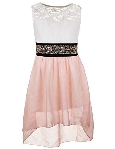 Fashionteam24 Festliches Sommerkleid in vielen Farben M361rs Rosa Gr. 6/110/116