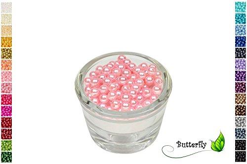 100 Perlen 6mm hell rosa 150 // Kuststoff Bastelperlen Drahtsterne Wachsperlen Perlenkette