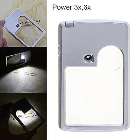 Origlam Portable Loupe Loupe, 3x 6x Handheld Loupe de lecture lumineuse avec éclairage LED pour lecture à coudre Artisanat fabriqués