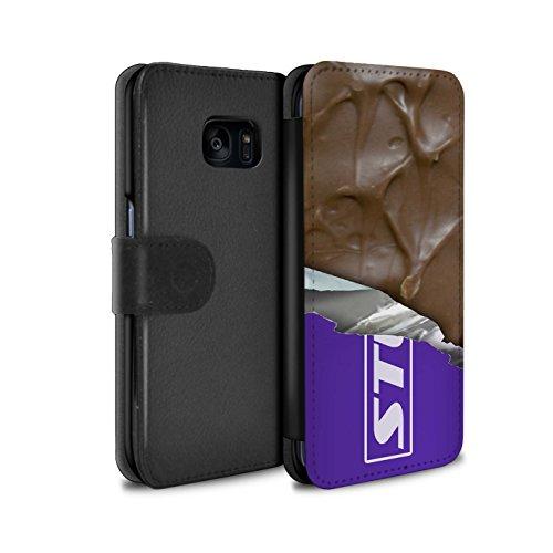 Mobile-edge-schokolade (Stuff4® PU-Leder Hülle/Case/Tasche/Cover für Samsung Galaxy S7 Edge/G935 / Eingewickelt Mars Muster/Schokolade Kollektion)