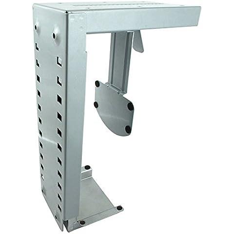 Maclean MC-500 S - Soporte de sobremesa escritorio para ordenador (montaje bajo mesa) (Plateado)