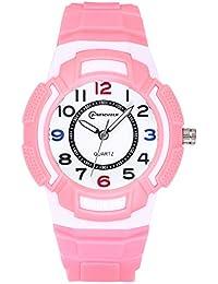 Reloj para niños, Reloj para niños Relojes Deportivos a Prueba de Agua para niños y niñas, Reloj de Cuarzo Banda de Silicona Impermeable, Mejor Regalo (Rosa-1)