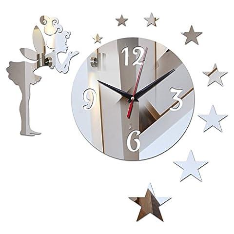 syalex (TM) Top Fashion 3D DIY Horloge murale Miroir en acrylique vente Horloge Montre Horloge Design moderne salon Still Life