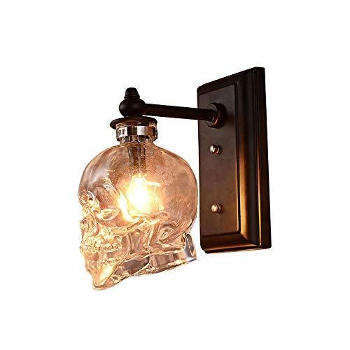 LifeX Retro Loft Schädelknochen Wandleuchte Wandlampen Restaurant Klarglas Flasche Wandleuchten Für Esszimmer Cafe Bar E14 Basis Industriellen Wohnkultur Lichter
