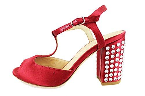 LELLA BALDI sandali donna rosso raso strass AH826 (36 EU)