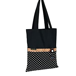 Shopper/Tote Bag/Rockabilly/Einkaufstasche/Umhängetasche/Baumwolle/schwarz/Kork