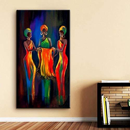 wydlb Decorativos Peinture Wandgemälde, gemalte abstrakte Figuren auf Leinwand, Afrika Frauen Kunst 60x110cm Kein Rahmen