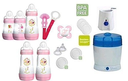 Preisvergleich Produktbild MAM Set 6 - Startset - Flaschen Sterilisator Babykoster Sauger 20 teilig - Mädchen + gratis Schmusetuch Löwe Leo