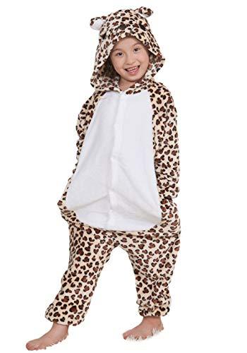 Pyjamas Kigurumi Jumpsuit Onesie Mädchen Junge Kinder Tier Karton Halloween Kostüm Sleepsuit Overall Unisex Schlafanzug Winter, Leopard ()