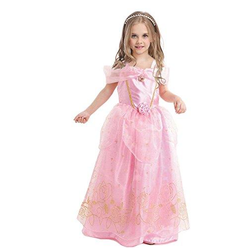 GenialES Costume Principessa Rosa Carino Costume Cosplay Festa Nuziale Compleanno Halloween Carnival Ragazze 110
