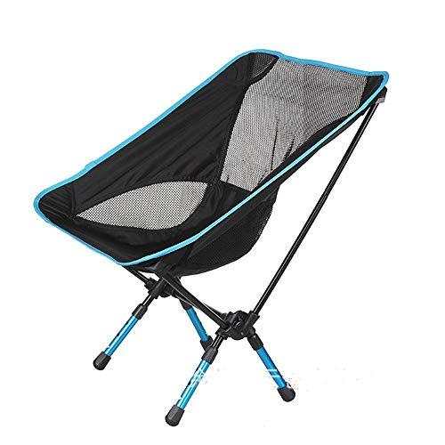 MM&KK Télescopique Ultra-léger Portable Lune Chaise Aviation Aluminium 7075 Plage Directeur Chaise Chaise de pêche arrière Loisirs Tabouret, Bleu Marine