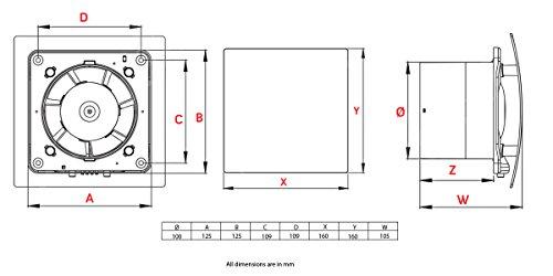 Salle de bain ventilateur d'extraction d'air 100mm/10,2cm moderne Douche de cuisine Es-100Brosse Finition chrome