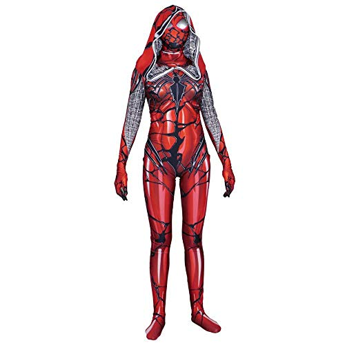 Adegk Cosplay Venom Big Red Cape Spiderman Tights Full Body Halloween Cosplay Suit Ms,Red-XXXL