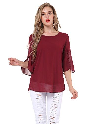 Yidarton Damen Sommer Casual Chiffon Shirt Scoop Neck 3/4 Ärmel Blusen Tops (XX-large, Wein)