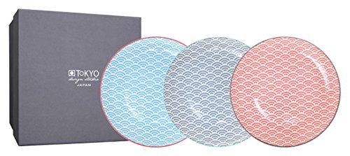 TOKYO design studio, Star Wave, 3 Teller Set 20,6cm, Japan, rund, in dekorativer Geschenkbox. Kuchenteller Porzellan Set. Design Teller