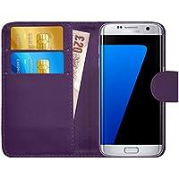 Coque Galaxy S7 Edge, G-Shield Étui à Rabat en Cuir [Emplacements Pour Cartes] [Fermeture Magnétique] Housse Portefeuille Étui Coque Pour Samsung Galaxy S7 Edge - Violet