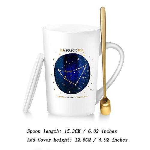 Kaffeetassen Kaffeetasse Kaffeebecher Kaffeepott Becher Keramik Tasse Set Tasse |Tasse mit großem Fassungsvermögen und Löffel |Matte White 400ML Steinbock