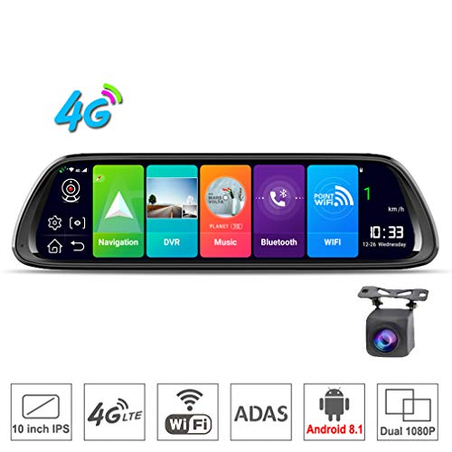 SZKJ D30 25,4 cm (10 Zoll) Full Screen 4G Touch IPS Universal Bundle Auto Armaturenbrett Cam Rückspiegel Rückspiegel mit GPS Navi Bluetooth Musik WiFi Android 8.1 Dual Lens FHD 1080P (Video-recorder Bundle)