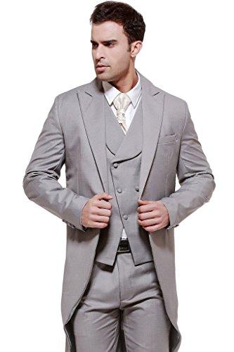 MYS da uomo Custom Made grigio coda lunga-Cappotto con Gilet e pantaloni Set Grey Su Misura