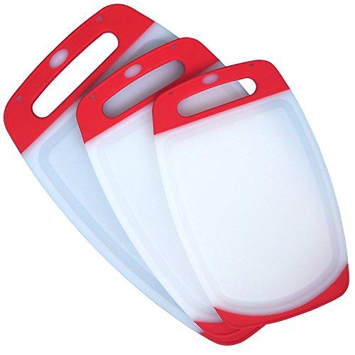 3 pezzi reversibile Poly plastica Tagliere Set con piedini antiscivolo,