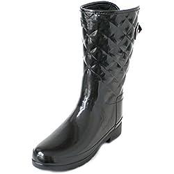 Hunter Woman Original Refined Gloss Quilt Short Black WFS1029RGL BLK, botas de agua color negro, 38