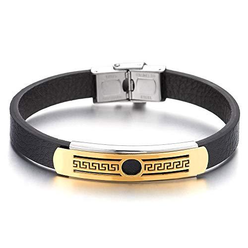 iMECTALII Herren Jungen Edelstahl Silber Gold Griechischen Schlüsselmuster ID Identifizierung Armband Armreif mit Schwarz Silikon