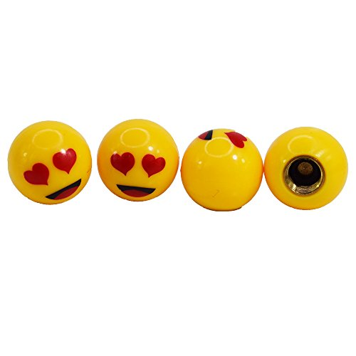Verliebter Herzchen Augen Smiley Reifen Ventilkappen Set Gelb Rund Auto LKW Motorrad Fahrrad einfache Montage 4 Stück Eintragung Frei