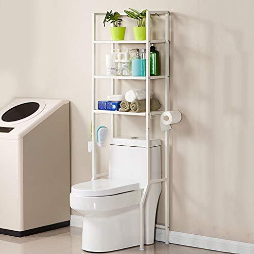 REGAL Badezimmer-stehende Speicher, Toiletten-Metallregal-Einheit, 3-Tier-Heavy-Duty-Fach (Farbe : Weiß) -