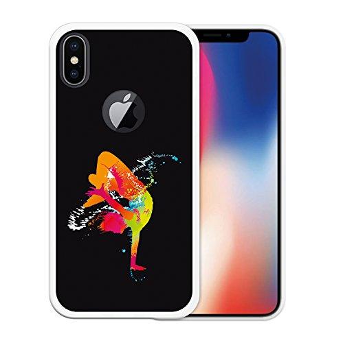 iPhone X Hülle, WoowCase Handyhülle Silikon für [ iPhone X ] Schwarzer Basketballspieler Handytasche Handy Cover Case Schutzhülle Flexible TPU - Schwarz Housse Gel iPhone X Transparent D0026