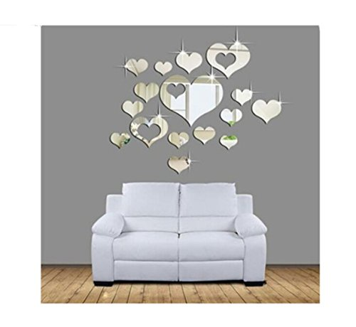 Lalang 3D Herz-Form Dekoration Wand Aufkleber Badezimmer Spiegel Wasserdicht Wandtattoo (Herz Spiegel)