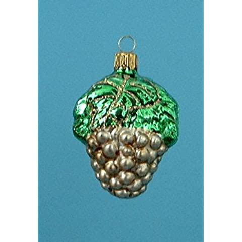 Grande uva verde/ottone oro per albero di Natale in vetro soffiato, decorate a mano lauscha vetro originale