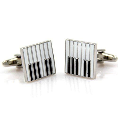 Musik Note Manschettenknöpfe , Musik Noten Musik Symbol Unisex Shirt Manschettenknöpfe , Instrument Form Manschettenknöpfe (1Paar) black and white-Piano key (White Tuxedo Shirt)